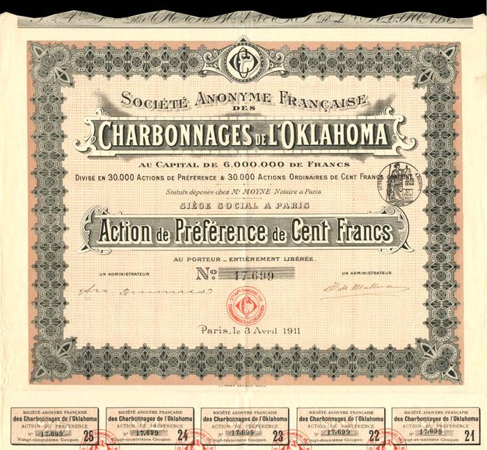 Societe Anonyme Francaise Des Charbonnages De L'Oklahoma