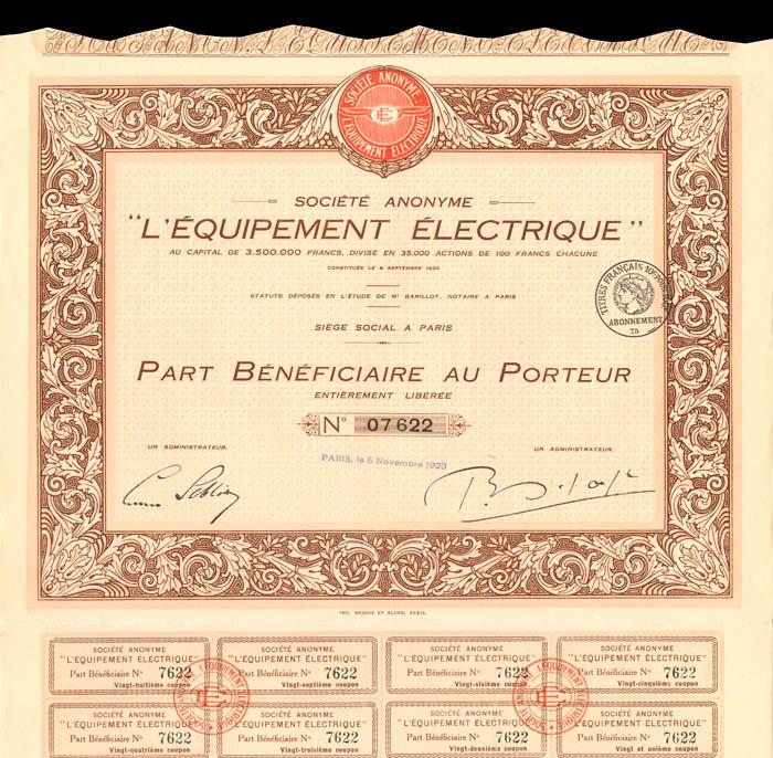 """Societe Anonyme """"L'Equipement Electrique"""""""