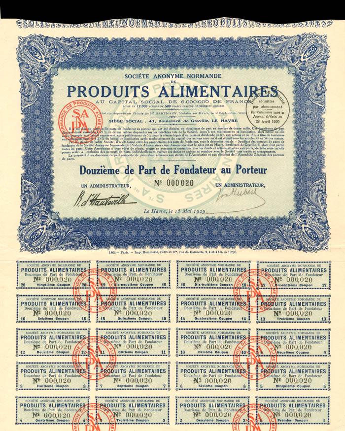Societe Anonyme Normande De Produits Alimentaires