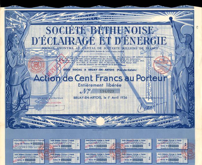 Societe Bethunoise D'Eclairage Et D'Energie - Stock Certificate