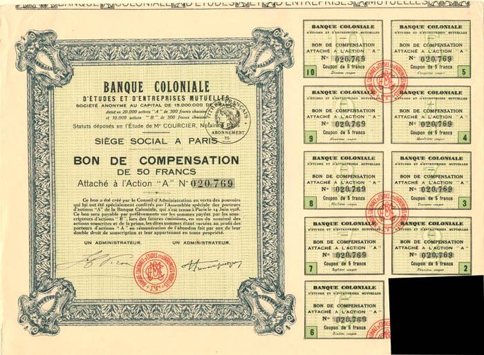 Banque Coloniale D'Etudes et D'Entreprises Mutuelles - Stock Certificate