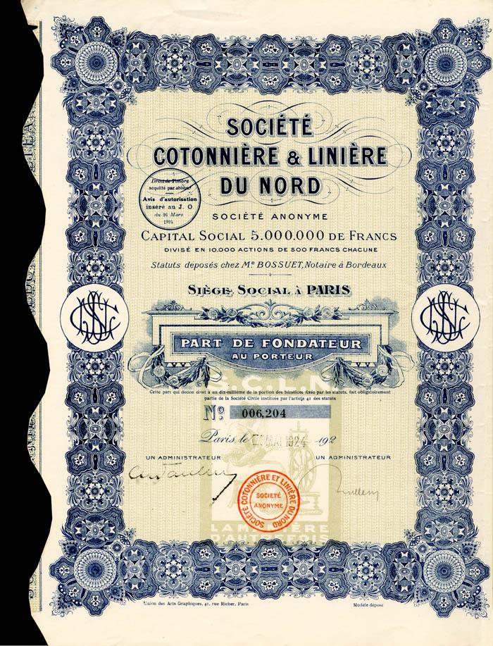 Societe Cotonniere and Liniere Du Nord