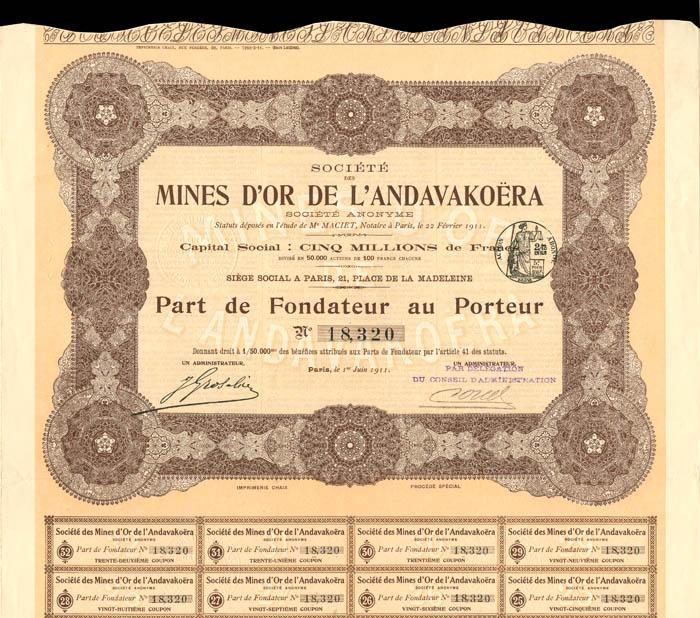 Societe Des Mines D'or De L'Andavakoera - Stock Certificate
