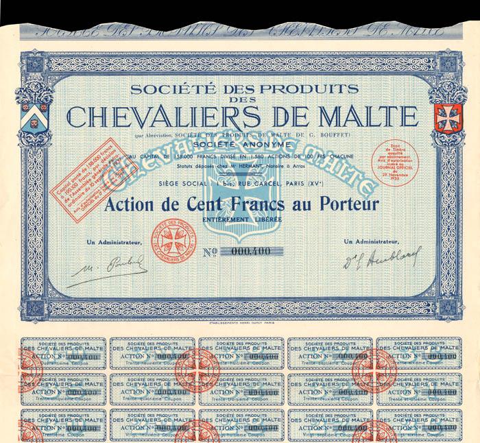 Societe Des Produits Des Chevaliers De Malte