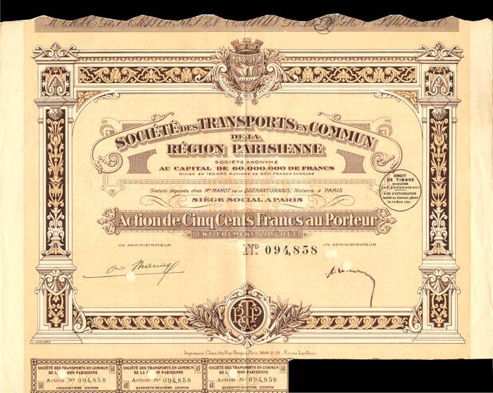 Societe Des Transports En Commun De La Region Parisienne - Stock Certificate
