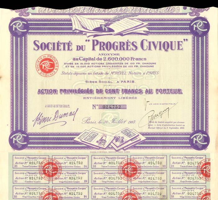 """Societe Du """"Progres Civique"""""""