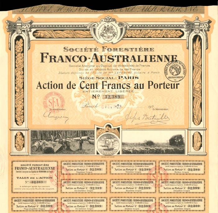 Societe Forestiere Franco-Australienne - Stock Certificate