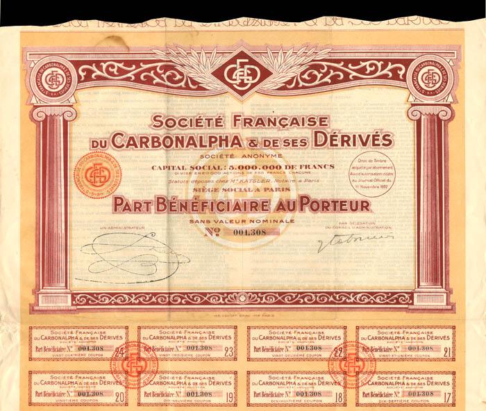 Societe Francaise Du Carbonalpha and De Ses Derives