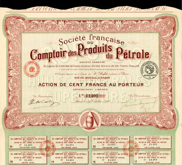 Societe francaise Du Comptoir des Produits du Petrole - Stock Certificate