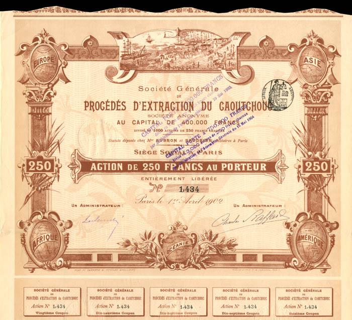 Societe Generale De Procedes D'Extraction Du Caoutchouc - Stock Certificate