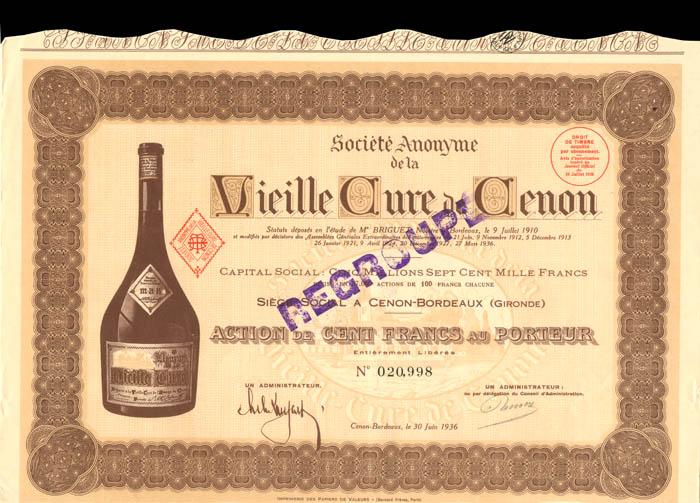 Societe Anonyme de la Vieille Cure de Cenon - Stock Certificate