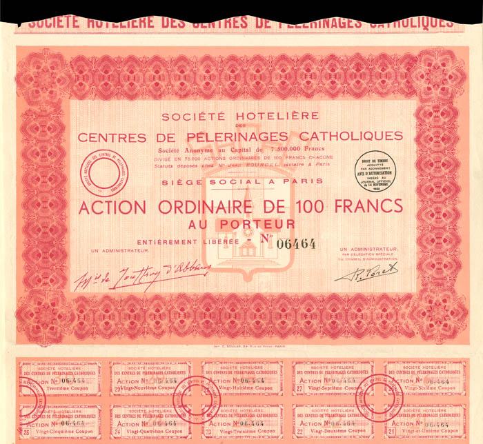 Societe Hoteliere Des Centres De Pelerinages Catholiques - Stock Certificate