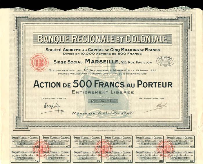 Banque Regionale Et Coloniale - Stock Certificate