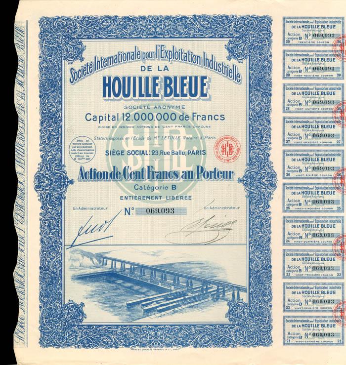 Societe Internationale pour l'Exploitation Industrielle De La Houille Bleue - Stock Certificate