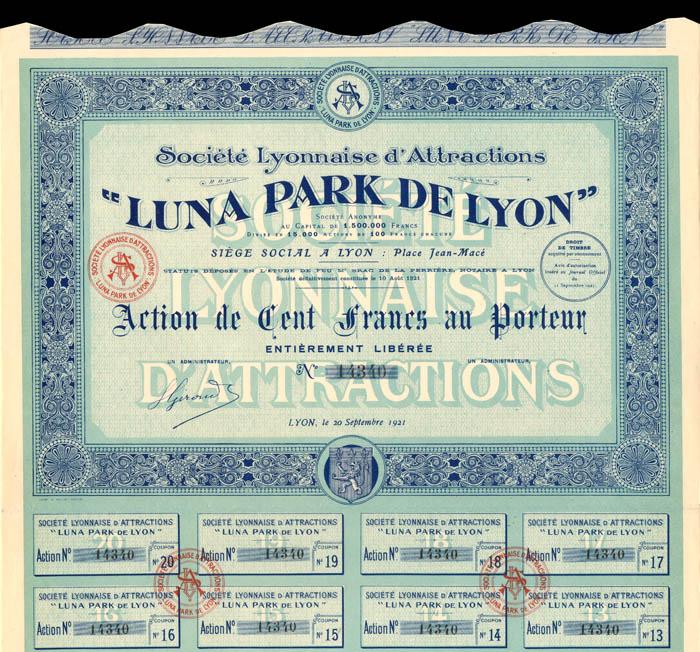 """Societe Lyonnaise d'Attractions """"Luna Park De Lyon"""" - Stock Certificate"""