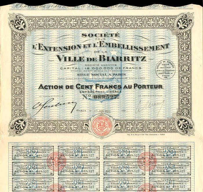 Societe Pour L'Extension Et L'Embellissement De La Ville De Biarritz