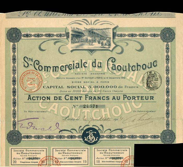 Ste. Commerciale du Caoutchouc - Stock Certificate