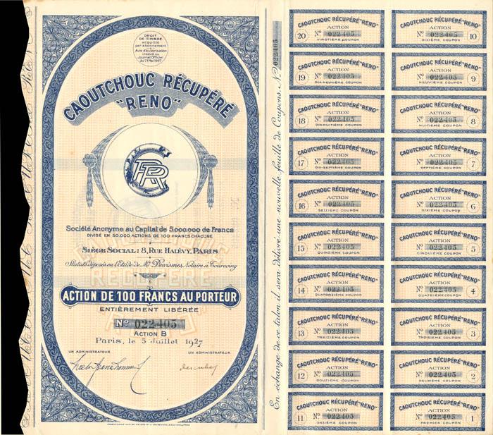 "Caoutchouc Recupere ""Reno"" - Stock Certificate"