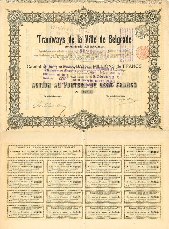 Tramways de la Ville de Belgrade - Stock Certificate
