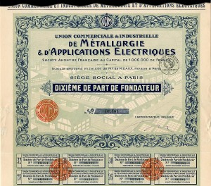 Union Commerciale & Industrielle De Metallurgie & D'Applications Electriques - 1,000,000 Francs