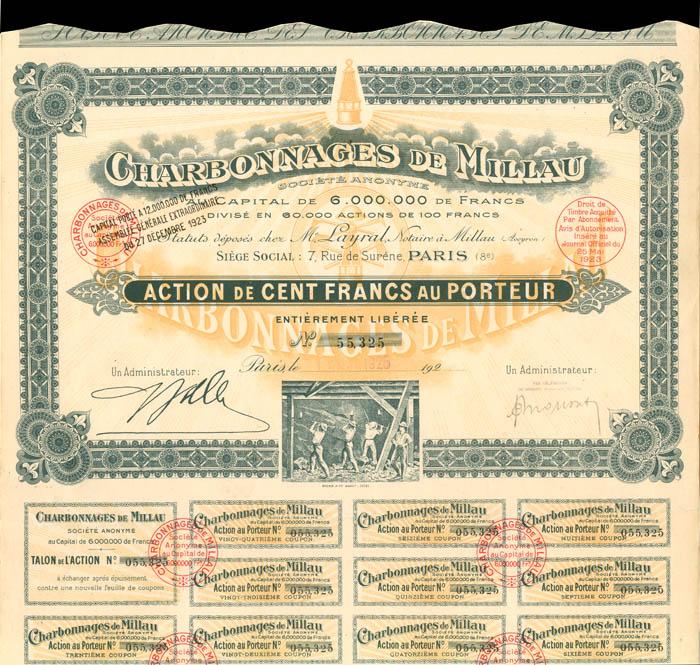 Charbonnages De Millau - Stock Certificate
