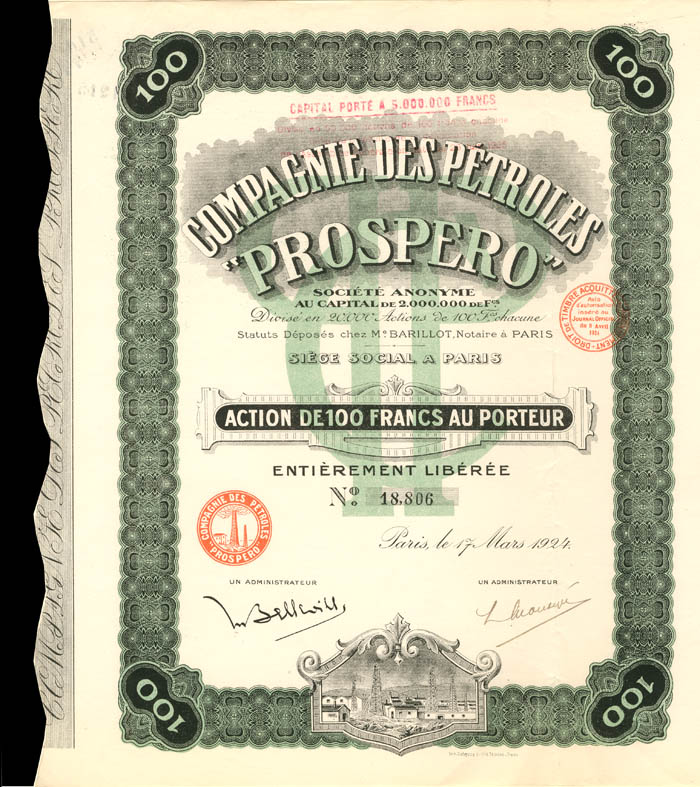 "Compagnie Des Petroles ""Prospero"" - Stock Certificate"