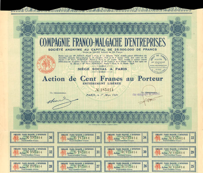 Compagnie Franco-Malgache D'Entreprises - Stock Certificate
