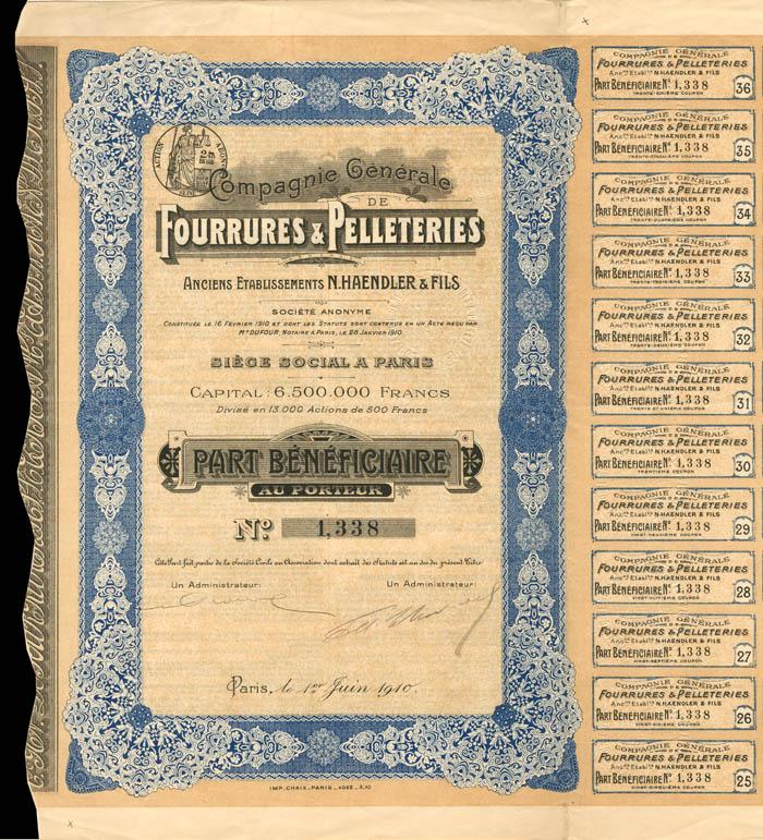 Compagnie Generale De Fourrures and Pelleteries