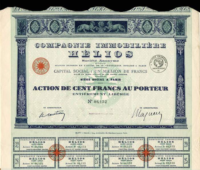 Compagnie Immobiliere Helios - Stock Certificate