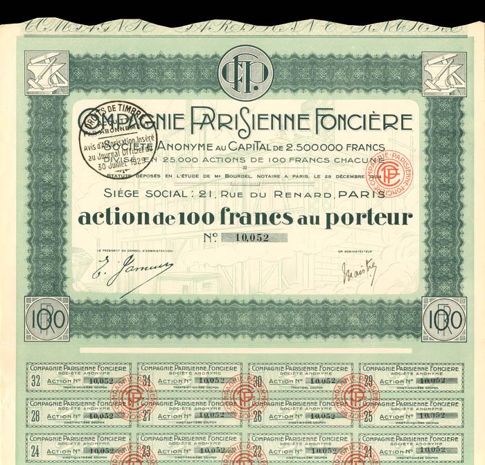 Compagnie Parisienne Fonciere - Stock Certificate