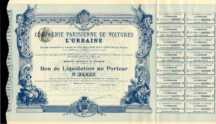 Compagnie Parisienne De Voitures L'Urbaine