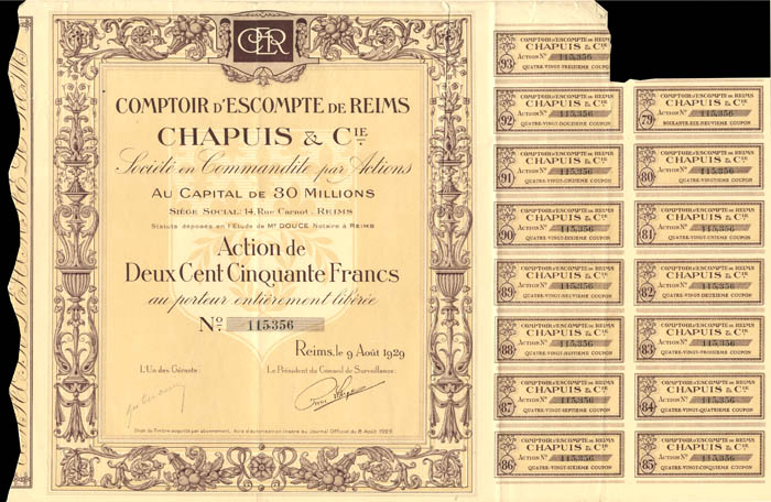 Comptoir D'Escompte De Reims Chapuis and Cie.