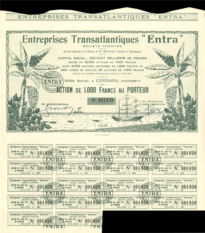 """Entreprises Transatlantiques """"Entra"""""""