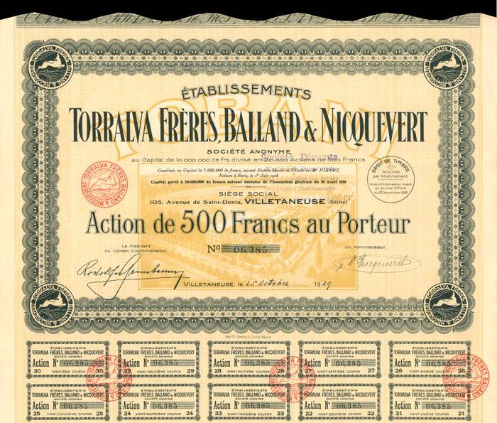 Etablissements Torralva Freres, Balland and Nicquevert