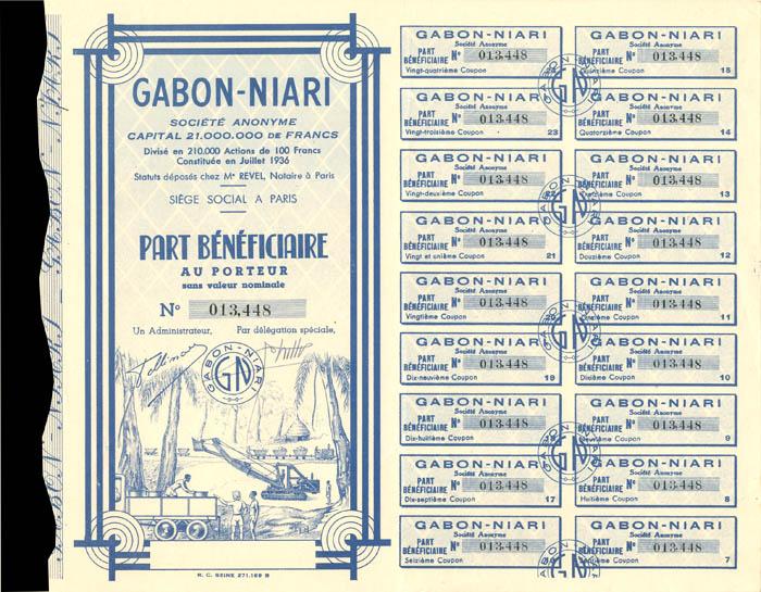 Gabon-Niari - Stock Certificate