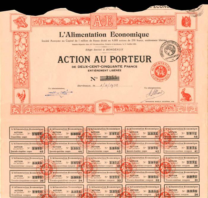 L'Alimentation Economique - Stock Certificate