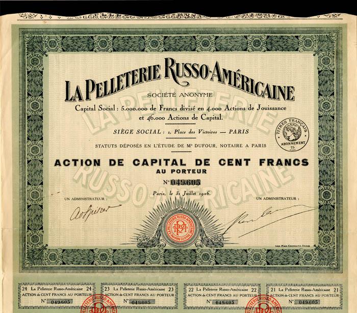La Pelleterie Russo-Americaine - Stock Certificate