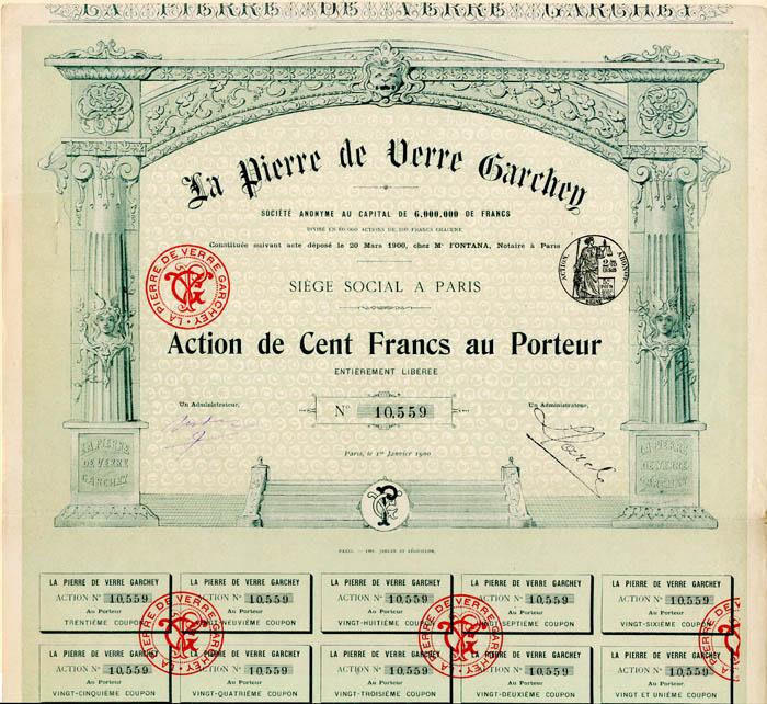 La Pierre de Verre Garchey - Stock Certificate