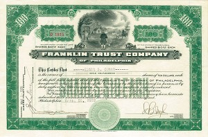Franklin Trust Company - Vignette of Franklin with Kite & Lightening in a Bottle