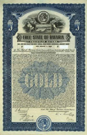 Free State of Bavaria 6.5% Uncancelled $1000 Bond of 1945