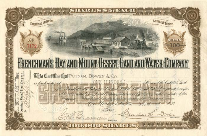 Frenchman's Bay and Mount Desert Land and Water Company - SOLD