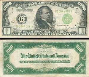 United States High Denomination $1,000 Note - FR-2212-G - SOLD