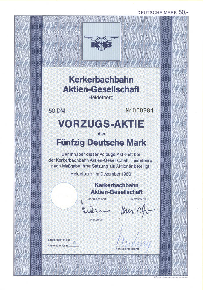 Kerkerbachbahn Aktien-Gesellschaft - Stock Certificate