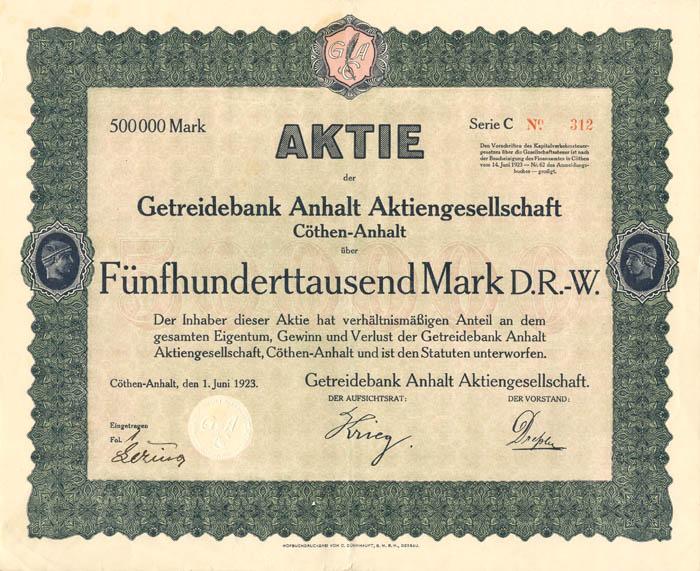 Getreidebank Anhalt Aktiengesellschaft - Stock Certificate