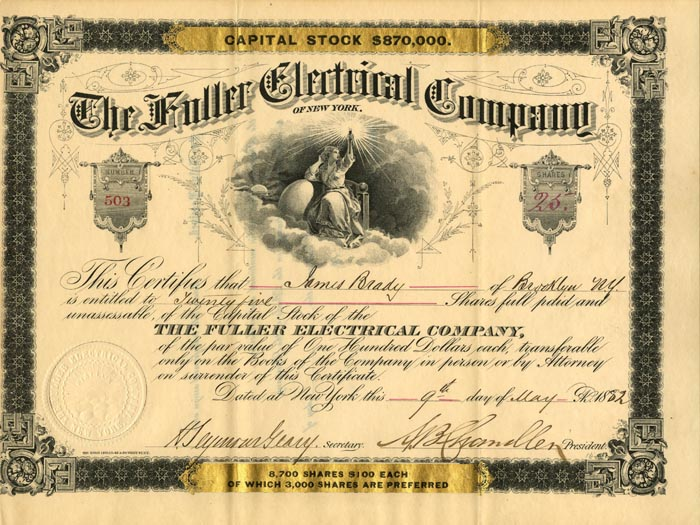 Fuller Electrical Company of New York - Stock Certificate