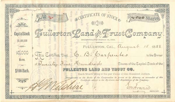 Fullerton Land and Trust Company signed by H.G. Wilshire
