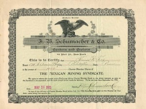 F.W. Schumacher & Co. Bankers and Brokers - Stock Certificate