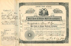 New York & Ottawa Railroad Company transferred to F.W. Vanderbilt, not signed - SOLD