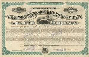 Paterson Extension Railroad Company signed by Garret A. Hobart