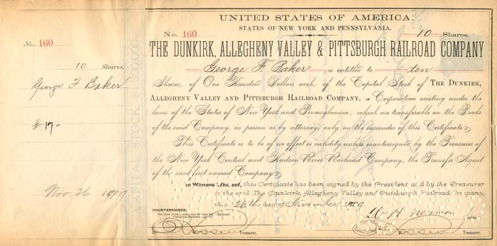 Dunkirk, Allegheny Valley & Pittsburgh Railroad Company signed by Geo. F. Baker
